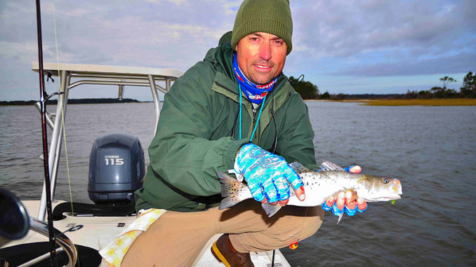 Speckled trout are a real target for winter anglers in the small estuary at Pawleys Island, S.C.
