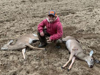 Youth huntress kills two deer with one shot